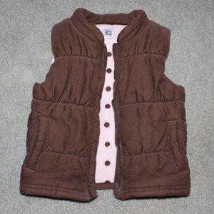 Carter's Girls 3T Velvet Puffer Vest Brown Zip up